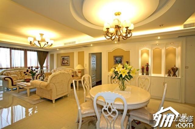 呼吸层次美感 时尚三居室简欧装 三居室装修,20万以上装修,简约风格,欧式风格,餐厅,客厅,灯具,餐桌,沙发