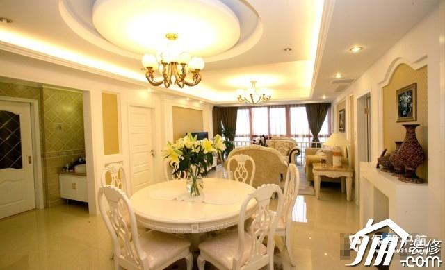 呼吸层次美感 时尚三居室简欧装 三居室装修,20万以上装修,简约风格,欧式风格,餐厅,灯具,餐桌
