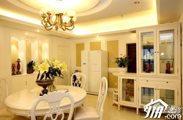 呼吸层次美感 时尚三居室简欧装 三居室装修,20万以上装修,简约风格,欧式风格,餐厅,灯具,餐桌,酒柜