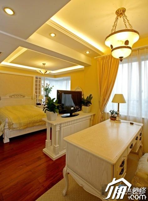 呼吸层次美感 时尚三居室简欧装 三居室装修,20万以上装修,简约风格,欧式风格,卧室,工作区,灯具,书桌