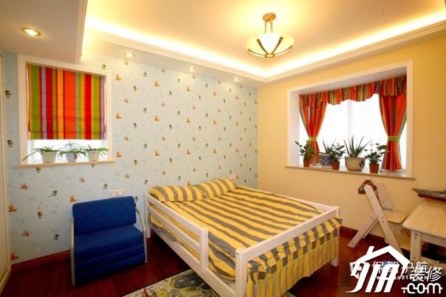 呼吸层次美感 时尚三居室简欧装 三居室装修,20万以上装修,简约风格,欧式风格,儿童房,儿童床,窗帘,壁纸