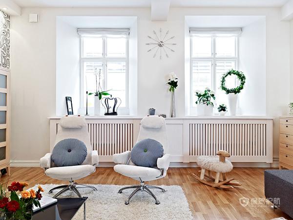 80平清新北欧风公寓客厅装修效果图