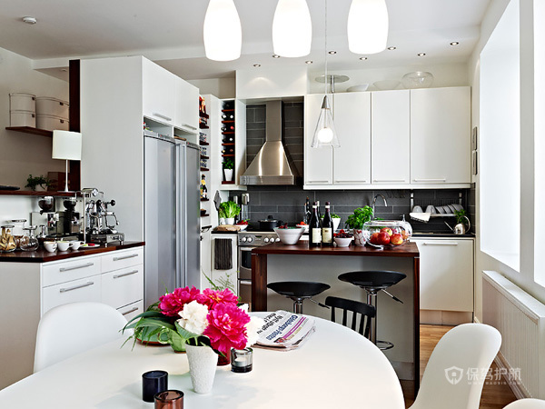 80平简约北欧风公寓厨房橱柜装修效果图