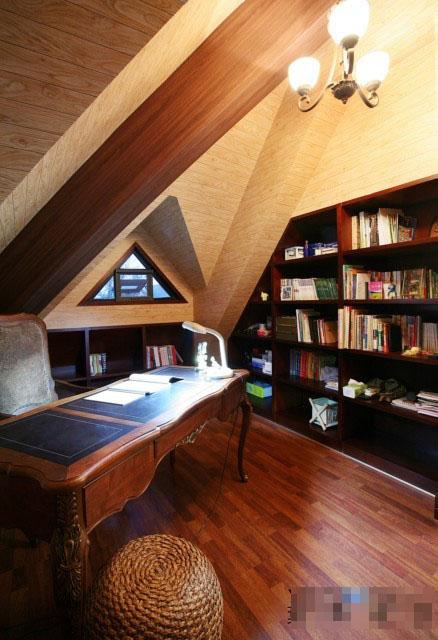 乡村田园风复式书房装修效果图