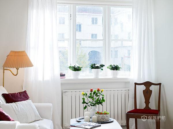 简欧风格二居室公寓卧室纯白窗帘软装效果图
