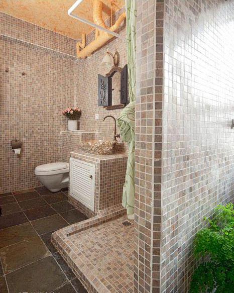 地中海风格30平卫生间马赛克瓷砖装修…