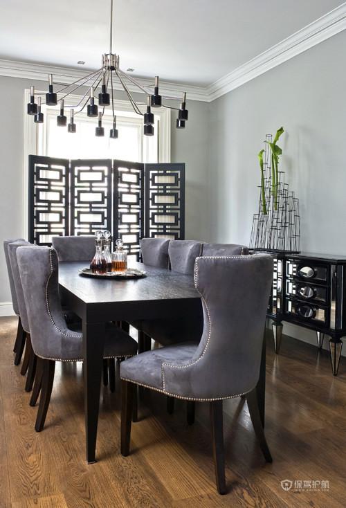 优雅浪漫简欧别墅餐厅背景墙装修效果图
