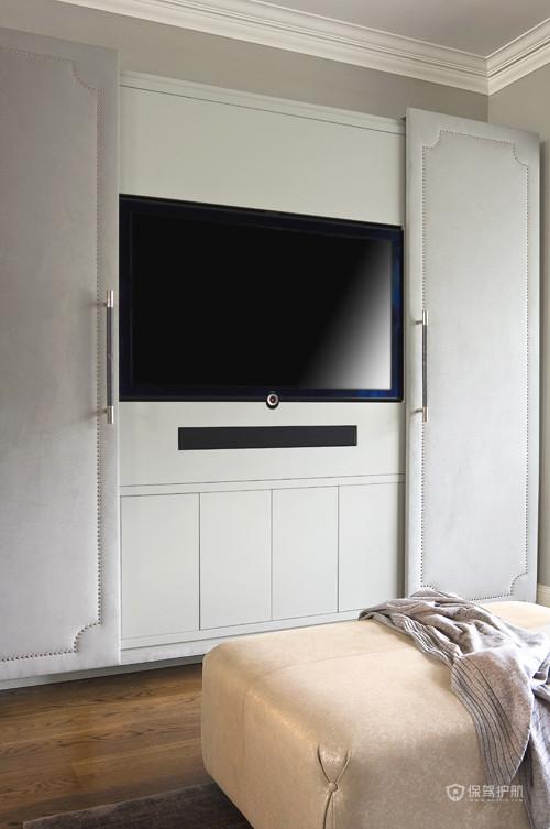 优雅浪漫简欧别墅卧室电视背景墙