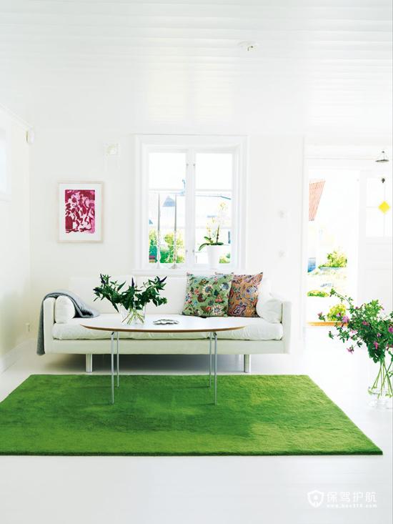 清新蓝绿色精装 90平混搭式别墅