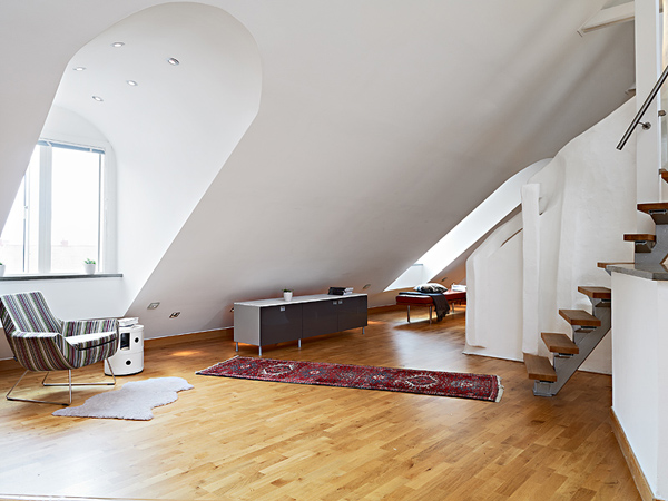 70平簡歐風格復式樓客廳裝修效果圖