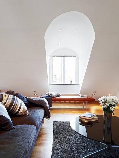 白色簡歐風公寓閣樓小客廳裝修效果圖…