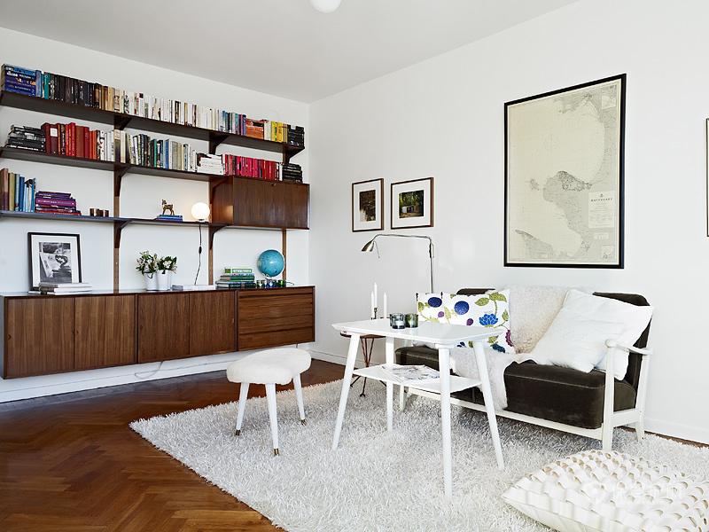 宜家风格一室一厅10平米客厅置物架效果图
