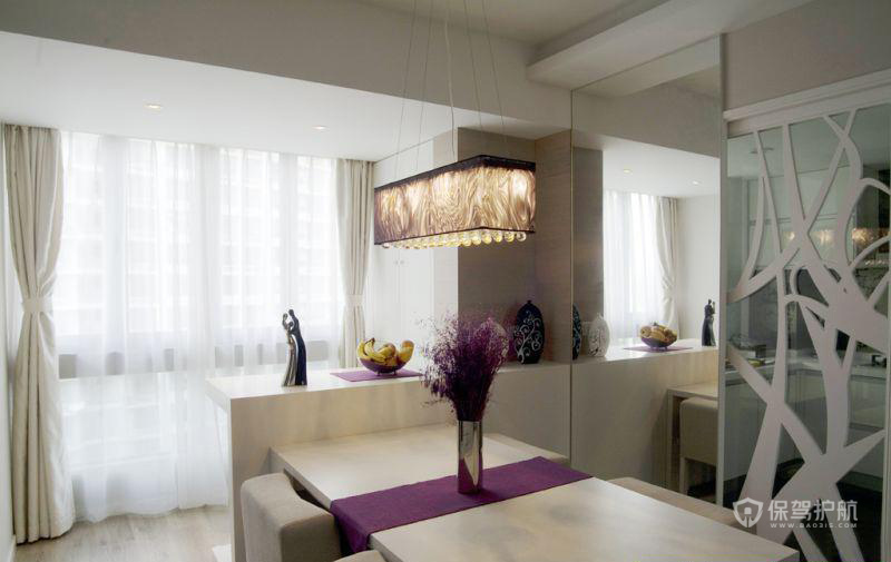 简约风格三室一厅公寓开放式餐厅装潢效果图