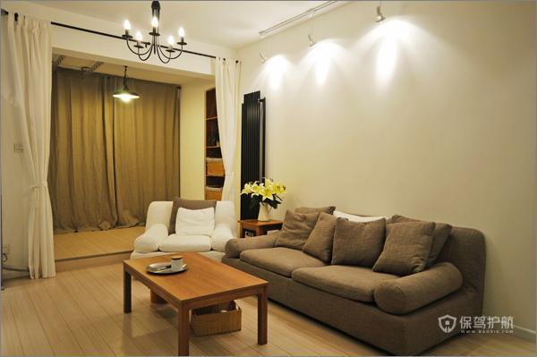现代简约公寓50平客厅射灯装潢效果图