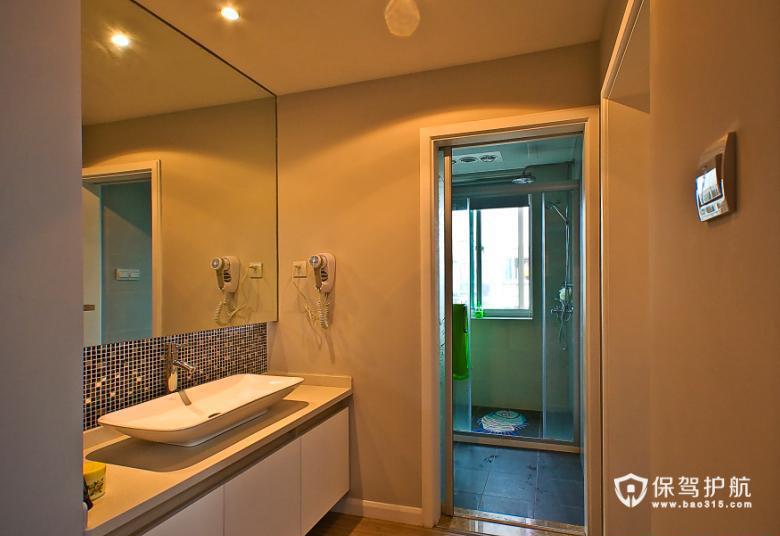 简洁大方 简约温馨两居室 二居室装修,富裕型装修,简约风格,卫生间,简洁,洗手台,背景墙