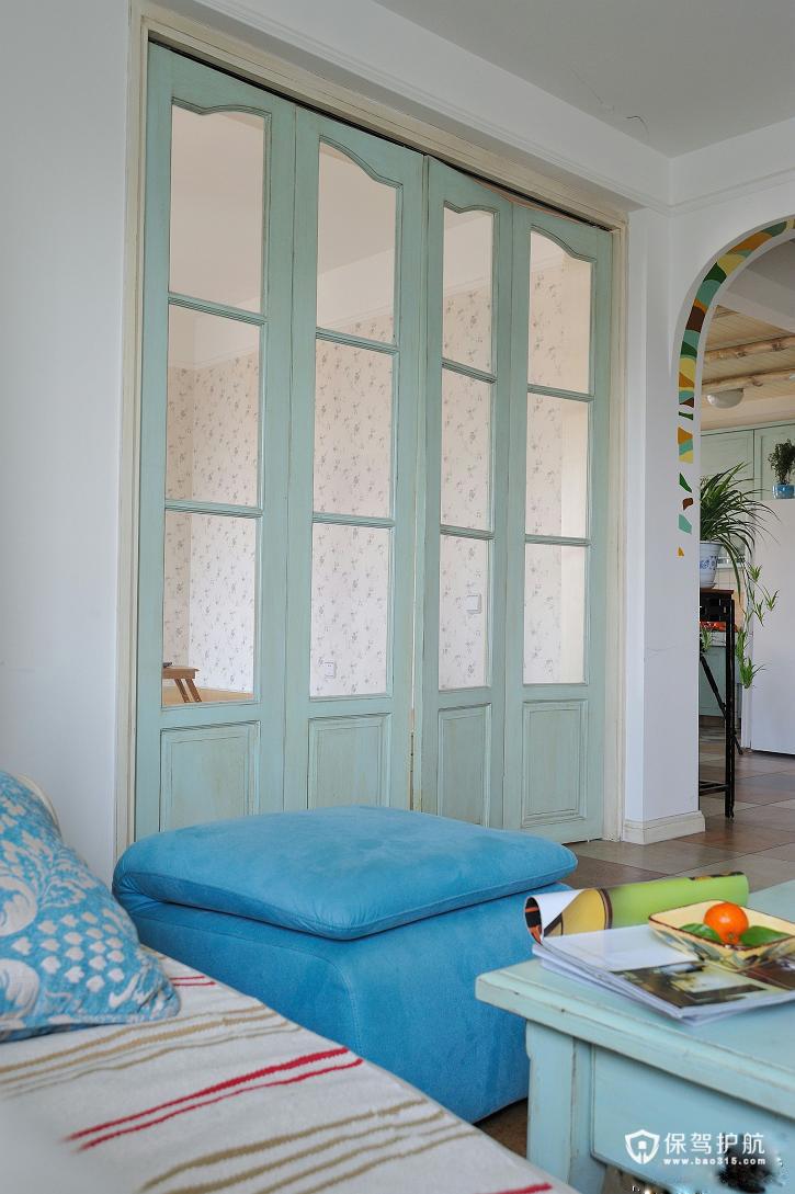 绚烂夏花 做旧式公寓房 ,,公寓装修,120平米装修,经济型装修,混搭风格,地中海风格,客厅