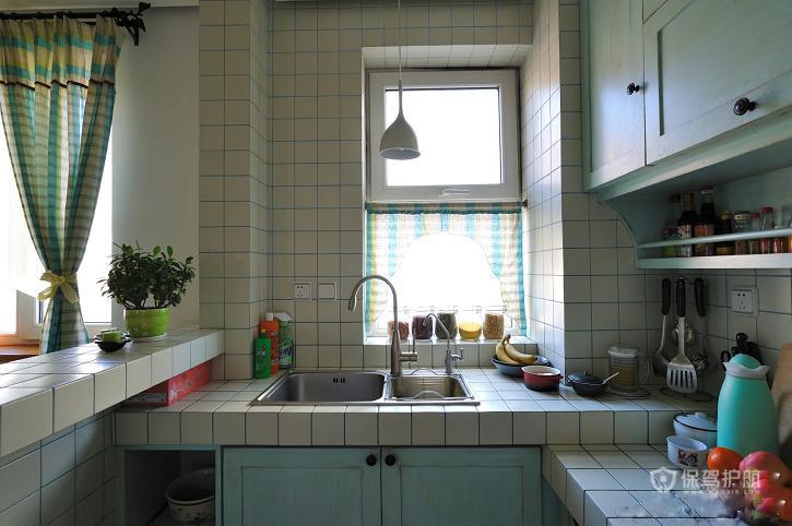 绚烂夏花 做旧式公寓房 ,,公寓装修,120平米装修,经济型装修,混搭风格,地中海风格,厨房,橱柜