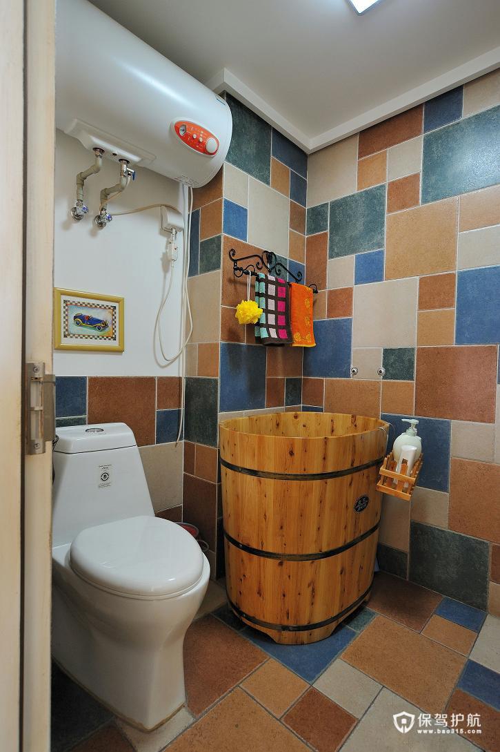 绚烂夏花 做旧式公寓房 ,,公寓装修,120平米装修,经济型装修,混搭风格,地中海风格,卫生间