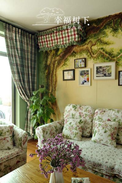 手绘艺术 10款客厅沙发手绘背景墙