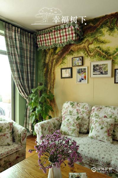 手绘艺术 10款客厅沙发手绘背景墙 沙发背景墙,手绘墙,公寓装修,沙发,窗帘,照片墙