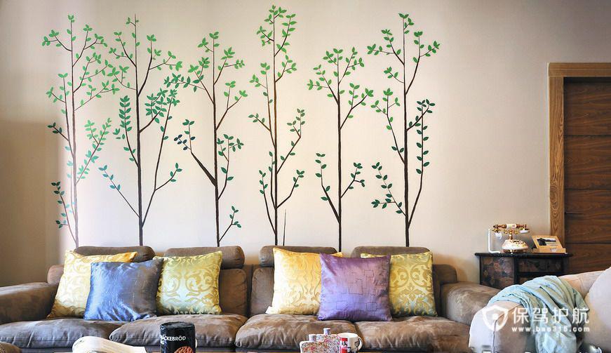 手绘艺术 10款客厅沙发手绘背景墙 沙发背景墙,手绘墙,公寓装修,沙发