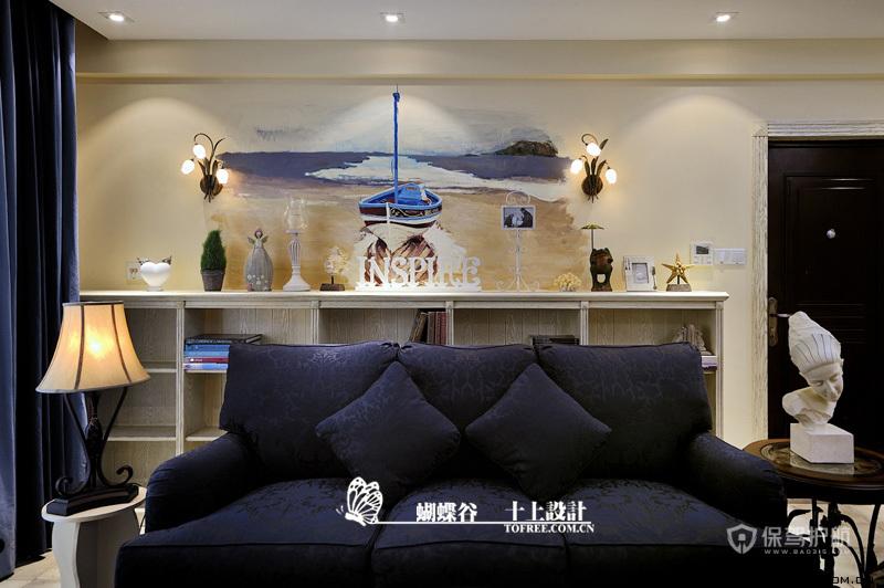 手绘艺术 10款客厅沙发手绘背景墙 沙发背景墙,手绘墙,公寓装修,沙发,灯具