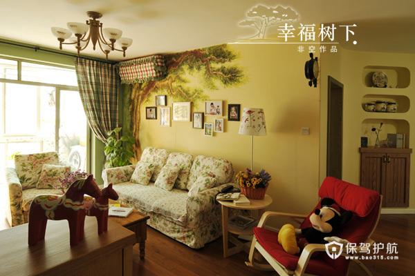 手绘艺术 10款客厅沙发手绘背景墙 沙发背景墙,手绘墙,公寓装修,沙发,茶几,照片墙