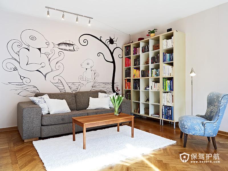 手绘艺术 10款客厅沙发手绘背景墙 沙发背景墙,手绘墙,公寓装修,沙发,书架
