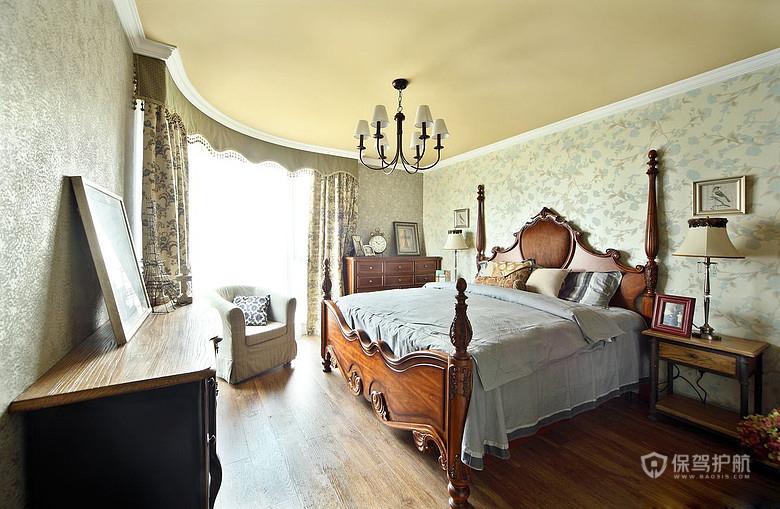 143平美式混搭复古风二居室卧室装修装修效果图