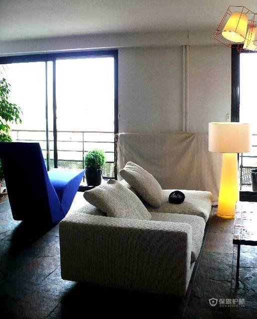 简约风格三室两厅公寓客厅高级沙发软装效果图