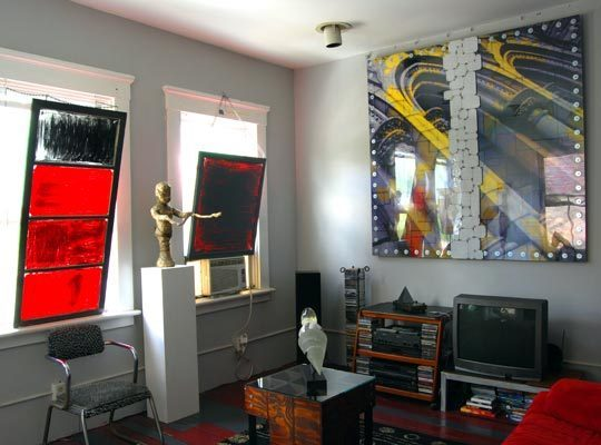 后现代两室一厅经济型户型客厅创意挂画效果图