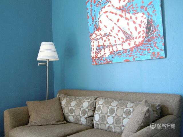 地中海风格三室一厅20平米客厅蓝色墙面装修效果图