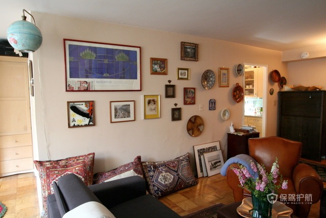 120平新古典主义公寓客厅背景墙装修效果图