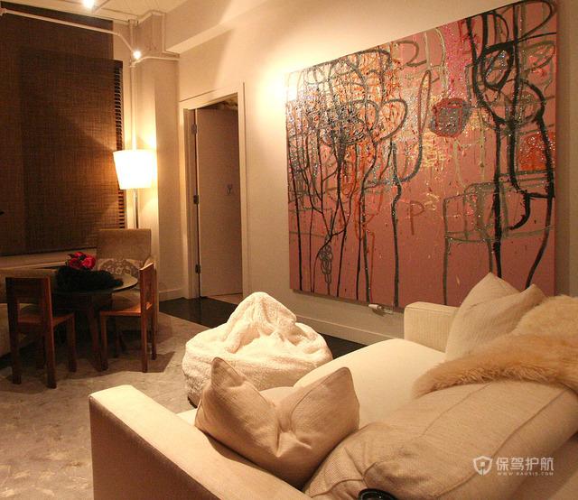 120平温馨东南亚风公寓客厅工作区装修效果图