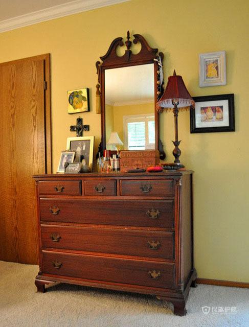 美式古典风格复式卧室软装搭配效果图