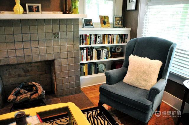 20平美式风格书房装修实景图