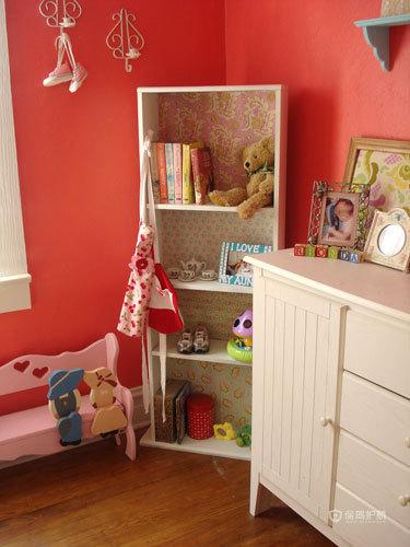 英式风格两室一厅20平米卧室粉色墙面装修效果图