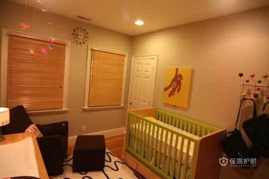 裸色儿童房 给孩子一个自然舒适小空间 小户型装修,公寓装修,70平米装修,简约风格,海外家居,儿童房,婴儿床