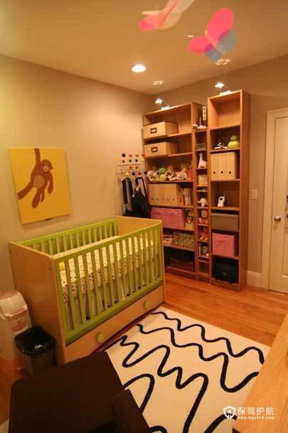 裸色儿童房 给孩子一个自然舒适小空间 小户型装修,公寓装修,70平米装修,简约风格,海外家居,儿童房,婴儿床,收纳柜