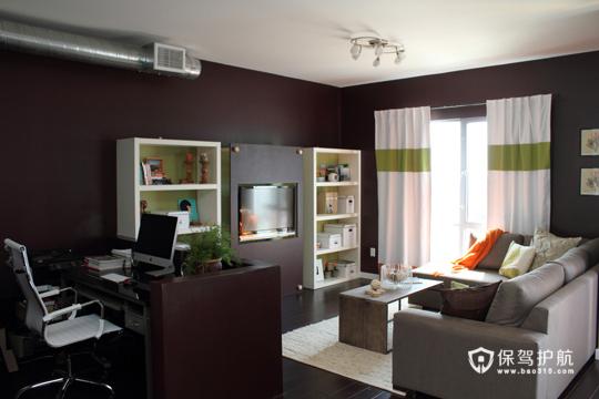温馨简约卧室 令人心动的二居 二居室装修,富裕型装修,简约风格,海外家居,客厅,工作区,简洁,沙发,茶几,窗帘,电视背景墙,灯具,书桌,吊顶