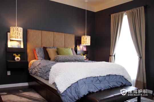 温馨简约卧室 令人心动的二居 二居室装修,富裕型装修,简约风格,海外家居,卧室,床,窗帘,灯具
