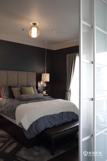 温馨简约卧室 令人心动的二居 二居室装修,富裕型装修,简约风格,海外家居,卧室,床,窗帘,灯具,吊顶
