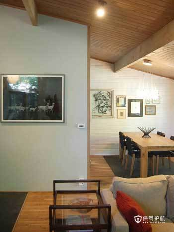 亲切质朴阁楼 实木打造原生态自然家居 阁楼,复式装修,经济型装修,简约风格,海外家居,客厅,餐桌,横梁