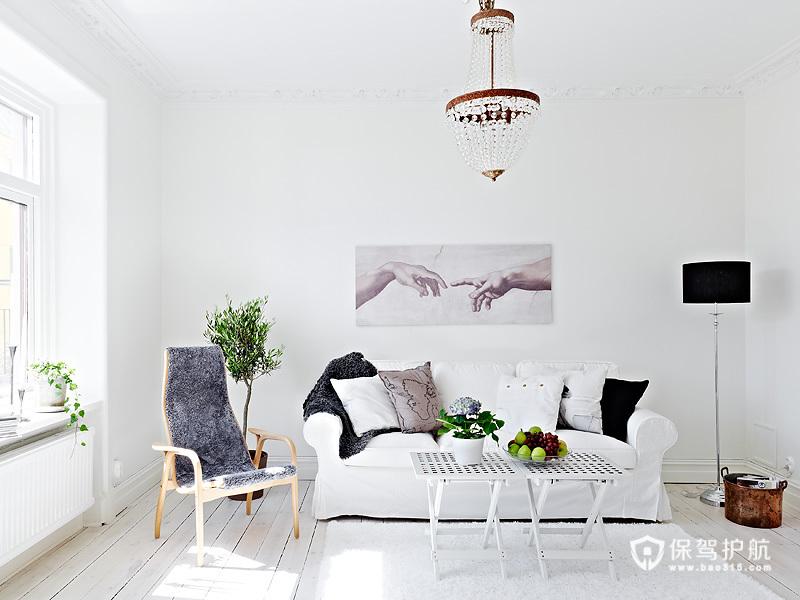 简单北欧风 65平白色原生态公寓
