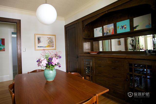 120平田园风格公寓餐厅软装效果图