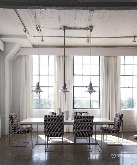 冷暖色调完美结合 优雅现代loft 跃层装修,富裕型装修,简约风格,海外家居,餐厅,冷色调,餐桌