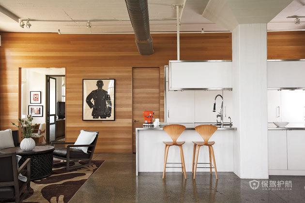 冷暖色调完美结合 优雅现代loft 跃层装修,富裕型装修,简约风格,海外家居,厨房,背景墙,吧台,原木色,吧台椅