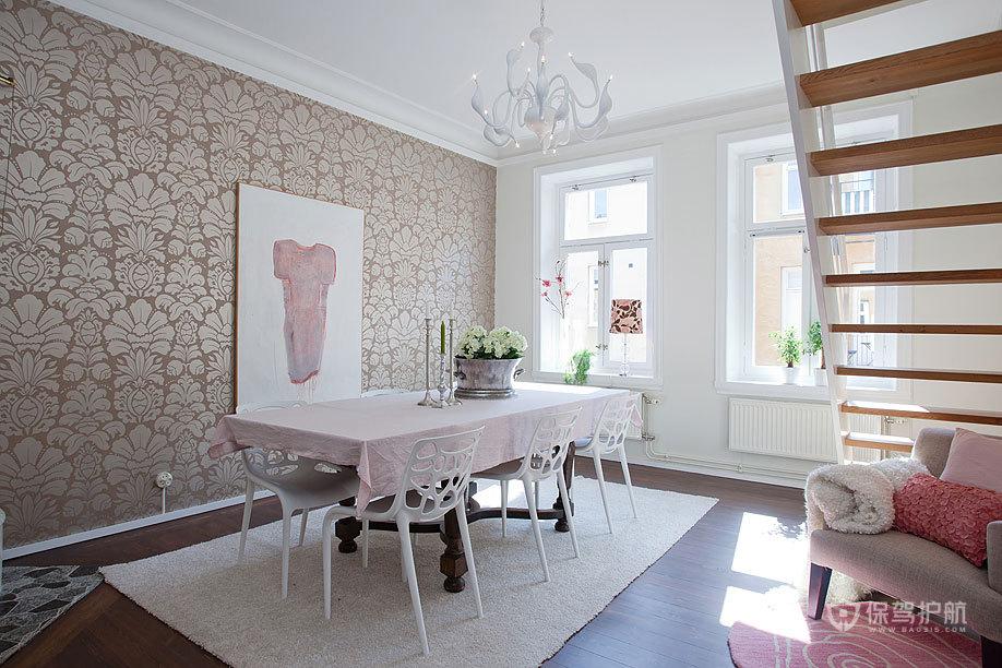 清新北欧二居室公寓餐厅壁纸装修效果图