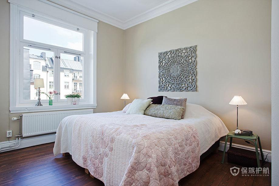 清新北欧二居室卧室床头背景墙装修效果图