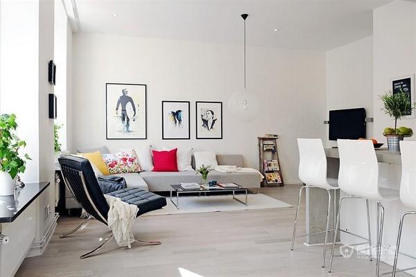 白色北欧风二居室客厅沙发背景墙装修效果图